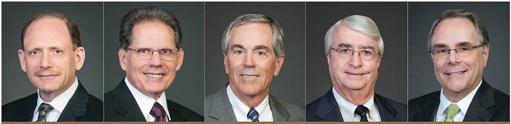 ► Five attorneys from Sarasota's Fergeson Skipper PA were selected for inclusion in The Best Lawyers in America 2019, including (L TO R) Matthew Mayper, E. Ralph Tirabassi, James Fergeson, Ronald Skipper and Richard Gans.
