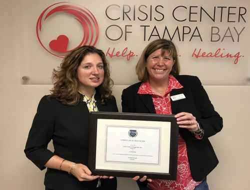 ►After an 18-month evaluation process, the Crisis Center of Tampa Bay was accredited by the Council on Accreditation, a nonprofit accreditor of human services organization, through 2022.